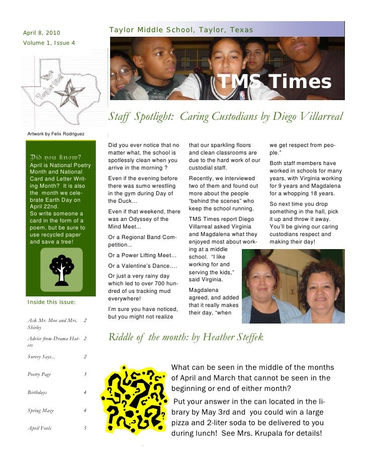 April 8, 2010                 Taylor Middle School, Taylor, Texas Volume 1, Issue 4                                       ...