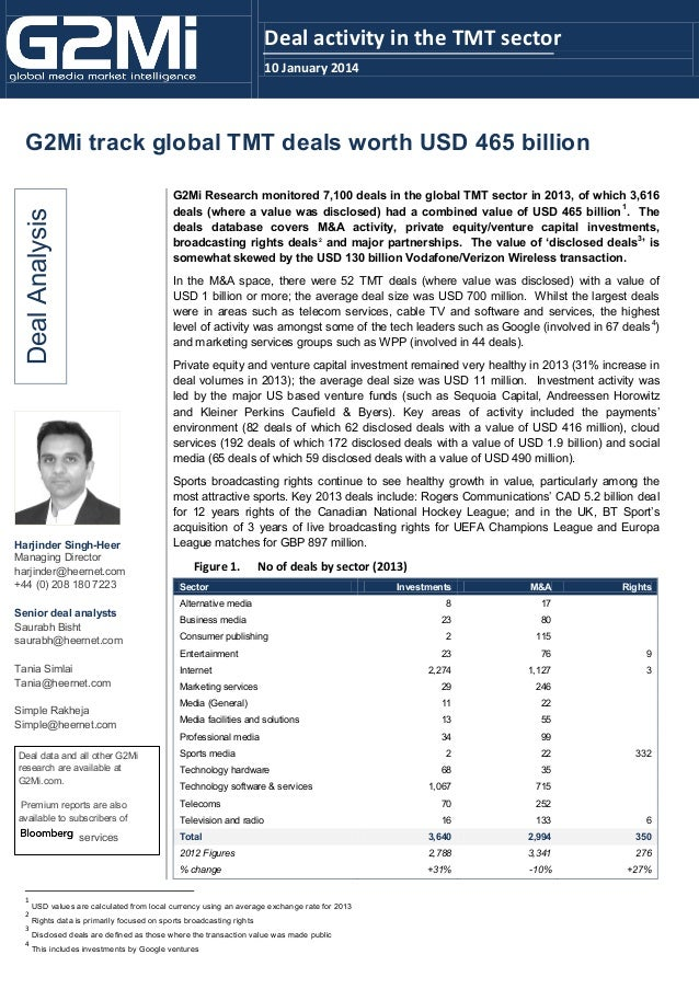 Deal activity in the TMT sector 10 January 2014  G2Mi track global TMT deals worth USD 465 billion  Deal Analysis  G2Mi Re...