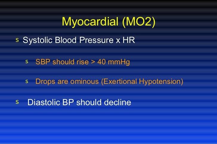 Myocardial (MO2) <ul><li>Systolic Blood Pressure x HR </li></ul><ul><ul><li>SBP should rise > 40 mmHg </li></ul></ul><ul><...