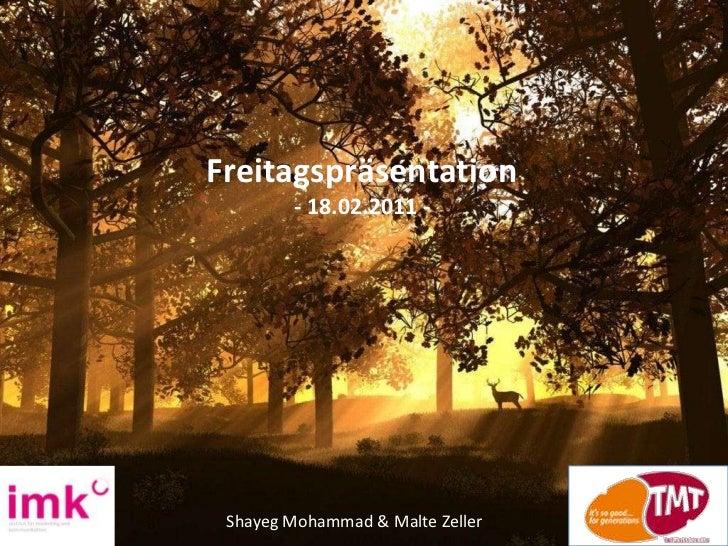 Freitagspräsentation<br />- 18.02.2011 -<br />Shayeg Mohammad & Malte Zeller<br />