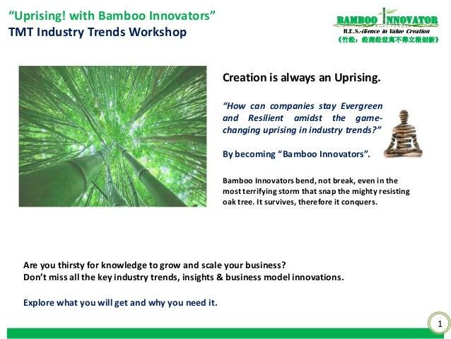 """1《竹经:经商经世离不得立根创新》nnovatorBambooR.E.S.-ilience in Value Creation""""Uprising! with Bamboo Innovators""""TMT Industry Trends Works..."""