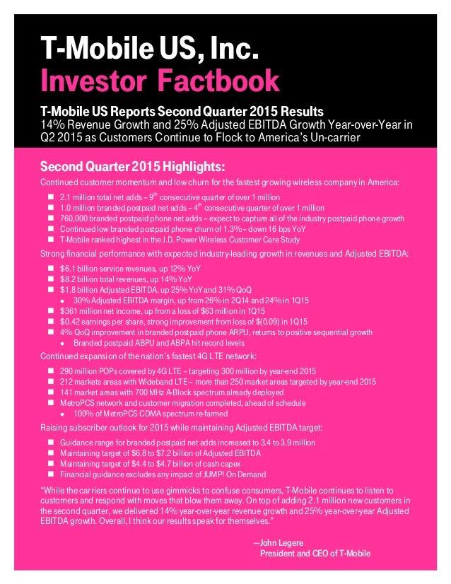 TMUS Q2 2015 Investor Factbook Slide 2