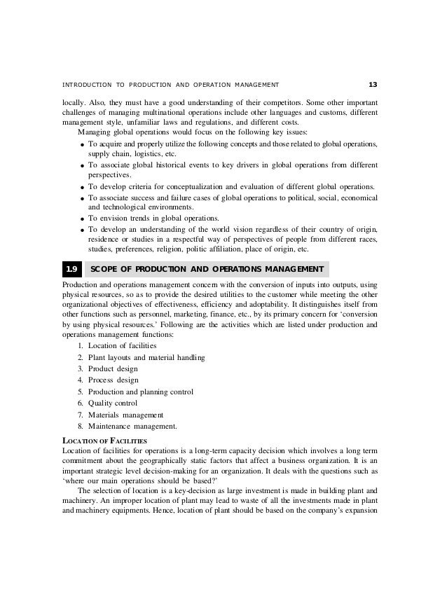 Production And Operation Management Notes Pdf
