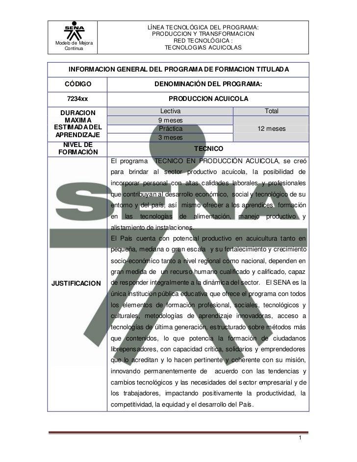 LÍNEA TE CNOLÓGICA DEL PROGRAMA:                                   PRODUCCION Y TRA NSFORMACION Modelo de Mejora          ...