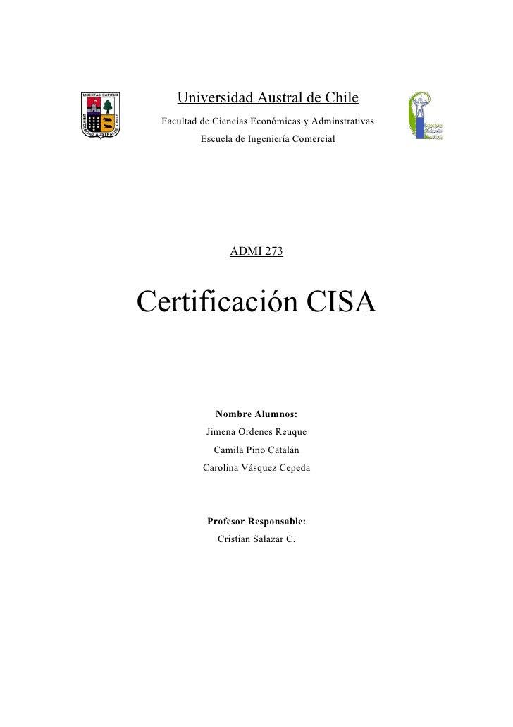 Universidad Austral de Chile Facultad de Ciencias Económicas y Adminstrativas         Escuela de Ingeniería Comercial     ...