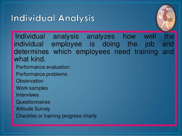 •Individual analysis analyzes how well theindividual employee is doing the job anddetermines which employees need training...