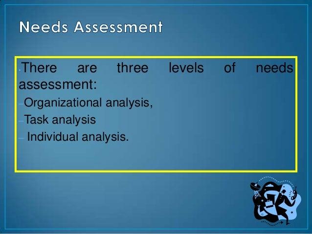 There are•                   three     levels   of   needsassessment:–Organizational   analysis,–Task  analysis– Individua...