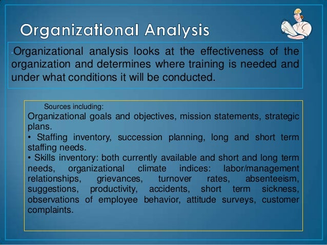 Organizational analysis looks at the effectiveness of the•organization and determines where training is needed andunder wh...