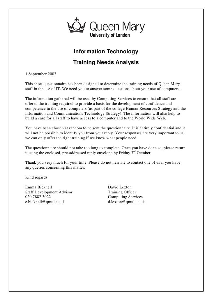 Information Technology                             Training Needs Analysis 1 September 2003  This short questionnaire has ...