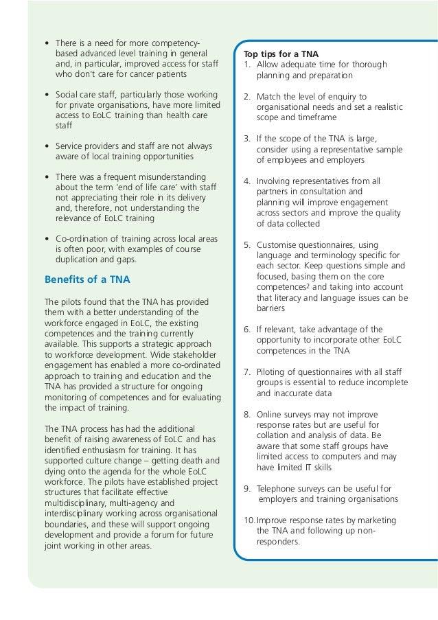 Training Needs Analysis Report summary
