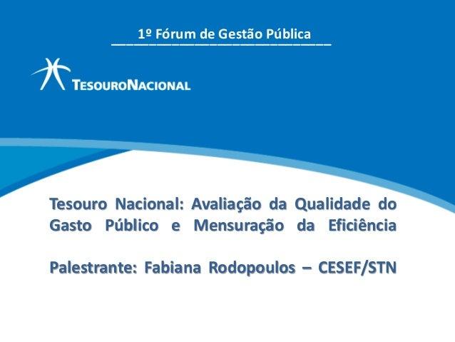 Tesouro Nacional: Avaliação da Qualidade do Gasto Público e Mensuração da Eficiência Palestrante: Fabiana Rodopoulos – CES...