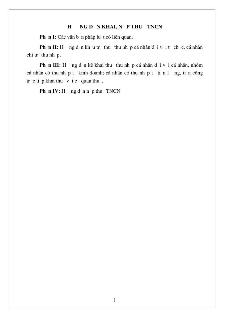HƯỚNG DẪN KHAI, NỘP THUẾ TNCN     Phần I: Các văn bản pháp luật có liên quan.       Phần II: Hướng dẫn khấu trừ thuế thu n...
