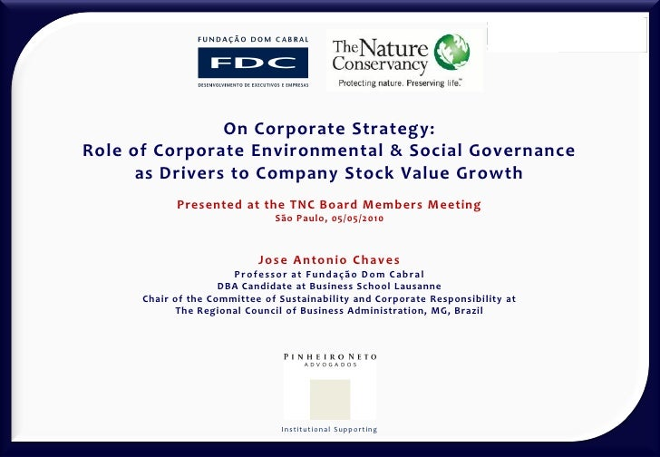 On Corporate Strategy: Role of Corporate Environmental & Social Governance       as Drivers to Company Stock Value Growth ...
