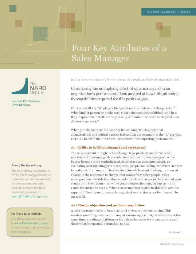 Four Key Attributes of aSales ManagerTHOUGHT LEADERSHIP SERIES ©2012 The Naro Group   ...