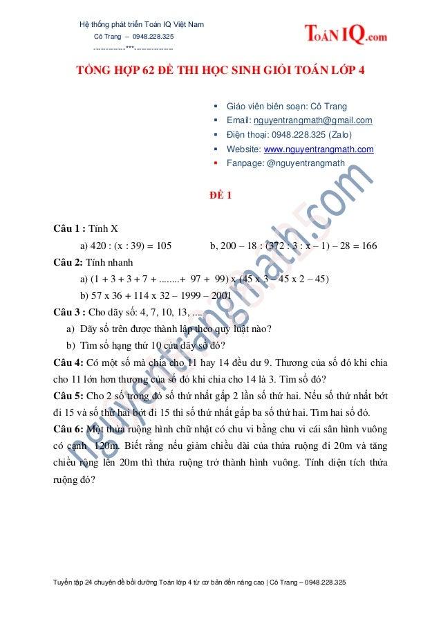Hệ thống phát triển Toán IQ Việt Nam Cô Trang – 0948.228.325 -------------***---------------- Tuyển tập 24 chuyên đề bồi d...