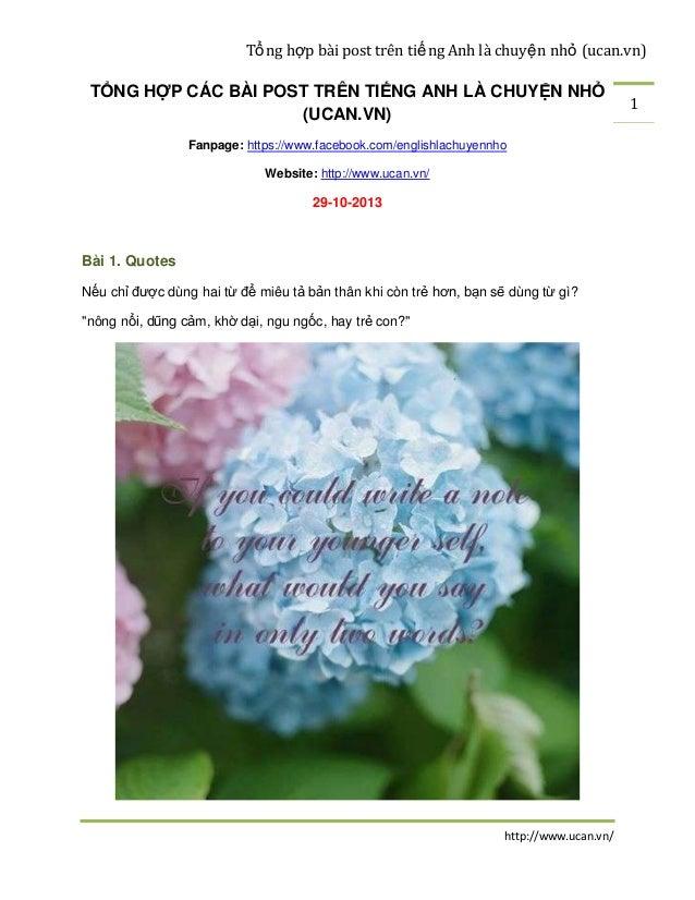 Tổ ng hợp bài post trên tiế ng Anh là chuyệ n nhỏ (ucan.vn)  TỔNG HỢP CÁC BÀI POST TRÊN TIẾNG ANH LÀ CHUYỆN NHỎ (UCAN.VN) ...