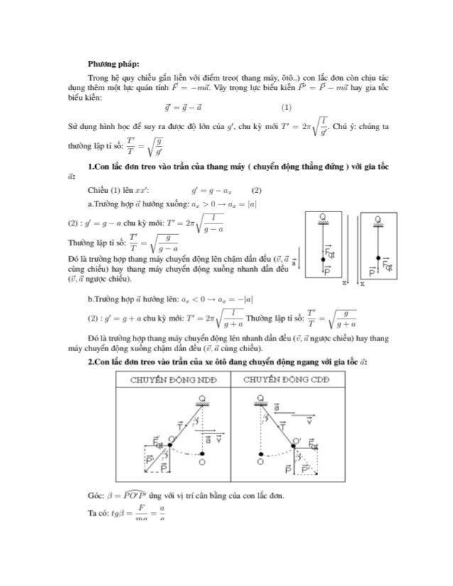 Phương pháp:  Trong hệ quy chiệu gắn liễn với điểm treo( thang máy, ôtô..) con lắc đon còn chịu tác dụng thêm một lực quán...