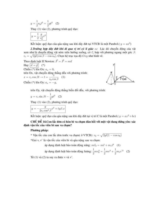 1 1 . ll = ẵalIt2 = ẵ9t2 (2)  Thay (l) vào (2), phưong trình quỹ đạo:     Kết luận: quỹ đạo của qủa nặng sau khi dây đứt t...