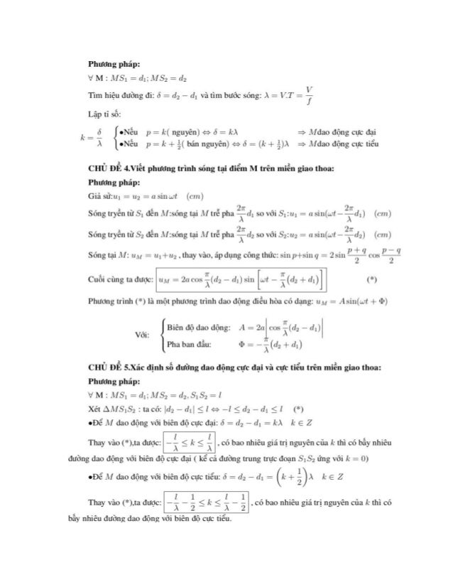CHỦ ĐỂ 6.Xác định điểm đao động với biên độ cực đại ( điểm bụng) và sổ điểm dao động với biên độ cực tiêu ( điêm nút) trên...