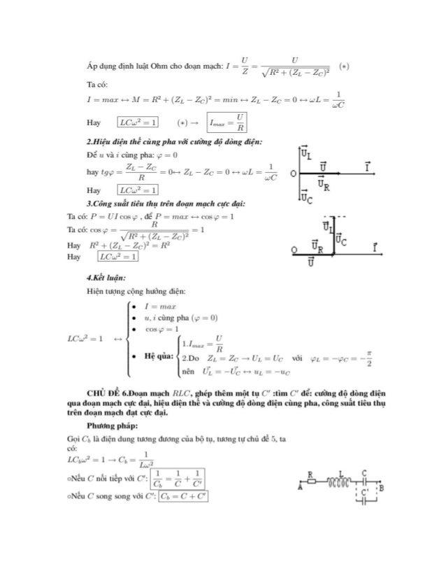 CHỦ ĐỂ 7.Ðoạn mạcll HLC: Cho biệt UR, UL, Uc: tìm U và độ lệcll pha <,?,,y,-.  Phương pháp:  Cách 1:( Dùng đại Sộ)  Áp dụn...