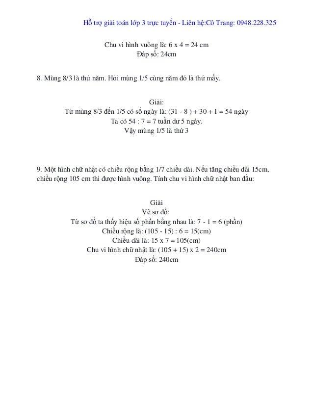 Hỗ trợ giải toán lớp 3 trực tuyến - Liên hệ:Cô Trang: 0948.228.325 Chu vi hình vuông là: 6 x 4 = 24 cm Đáp số: 24cm 8. Mùn...