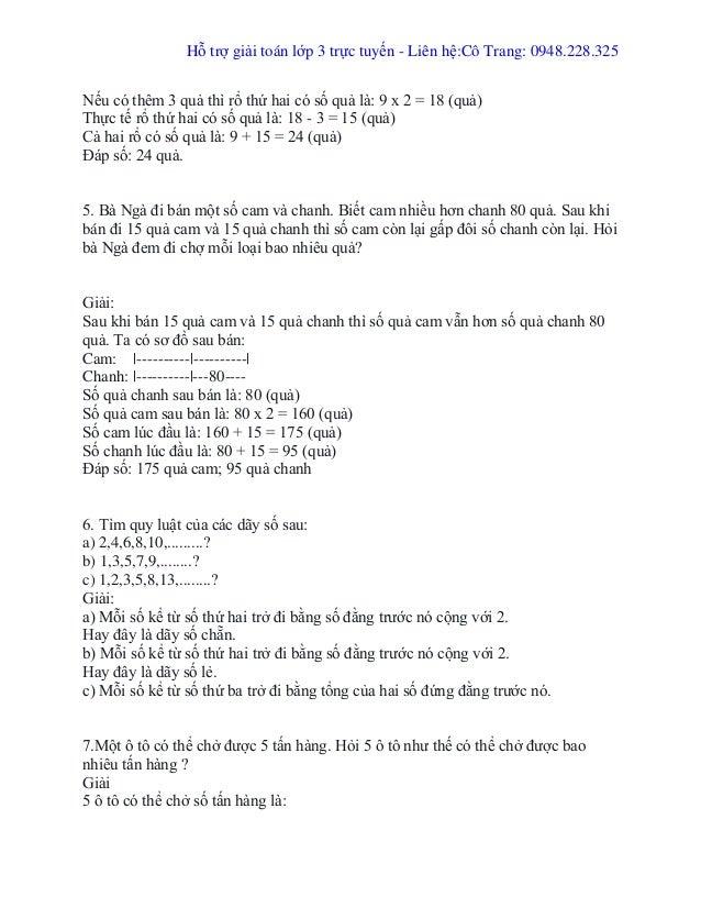 Hỗ trợ giải toán lớp 3 trực tuyến - Liên hệ:Cô Trang: 0948.228.325 Nếu có thêm 3 quả thì rổ thứ hai có số quả là: 9 x 2 = ...