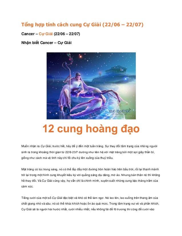 Tổng hợp tính cách cung Cự Giải (22/06 – 22/07) Cancer – Cự Giải (22/06 – 22/07) Nhận biết Cancer – Cự Giải 12 cung hoàng ...