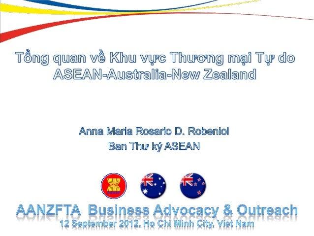 Các vấn đề trình bày  Giới thiệu Hiệp định AANZFTA  Các quy định về Thương mại Hàng hóa và Quy tắc Xuất xứ  Nguồn lực c...