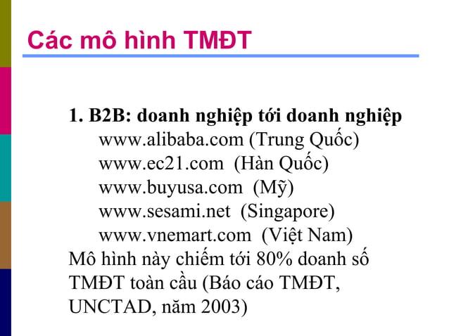 1. B2B: doanh nghiệp tới doanh nghiệp www.alibaba.com (Trung Quốc) www.ec21.com (Hàn Quốc) www.buyusa.com (Mỹ) www.sesami....