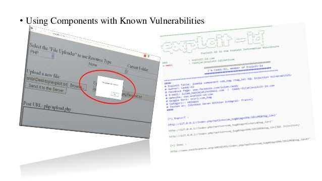 • Using Components with Known Vulnerabilities