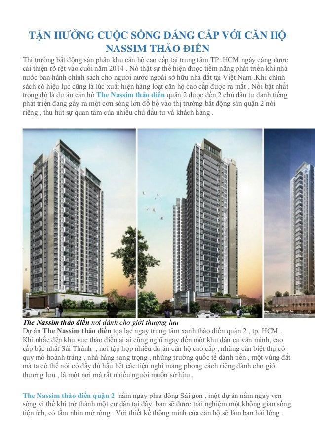 TẬN HƯỞNG CUỘC SỐNG ĐẲNG CẤP VỚI CĂN HỘ NASSIM THẢO ĐIỀN Thị trường bất động sản phân khu căn hộ cao cấp tại trung tâm TP ...