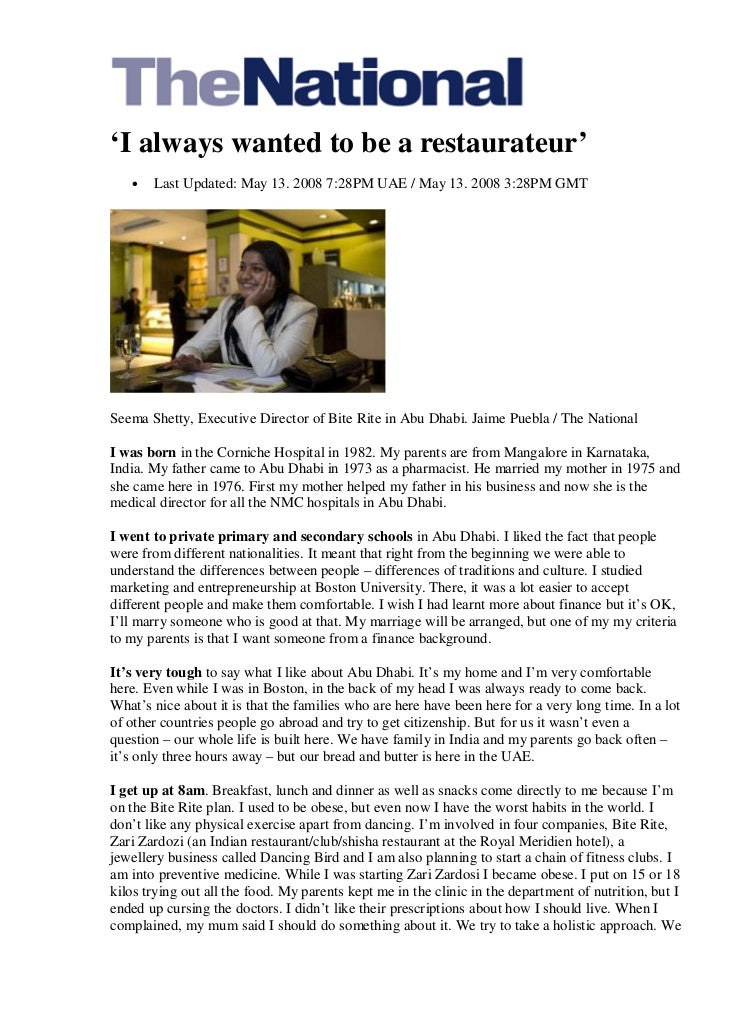 'I always wanted to be a restaurateur'   •   Last Updated: May 13. 2008 7:28PM UAE / May 13. 2008 3:28PM GMTSeema Shetty, ...