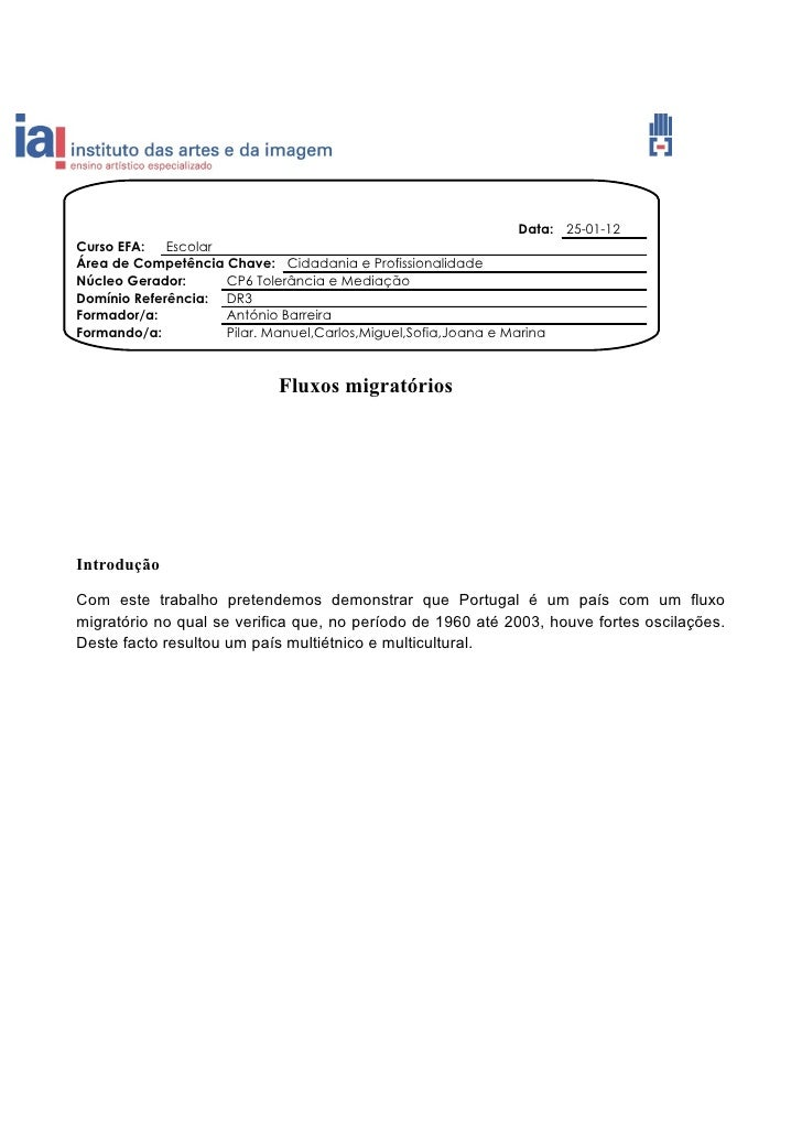 Data: 25-01-12Curso EFA:   EscolarÁrea de Competência Chave: Cidadania e ProfissionalidadeNúcleo Gerador:      CP6 Tolerân...