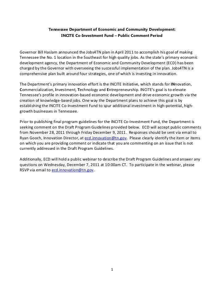 Tennessee Department of Economic and Community Development:                       INCITE Co-Investment Fund – Public Comme...