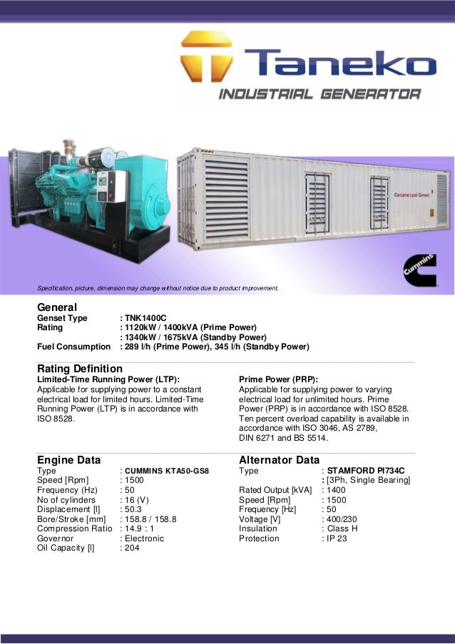 Genset/ Generator Set 1400KVA