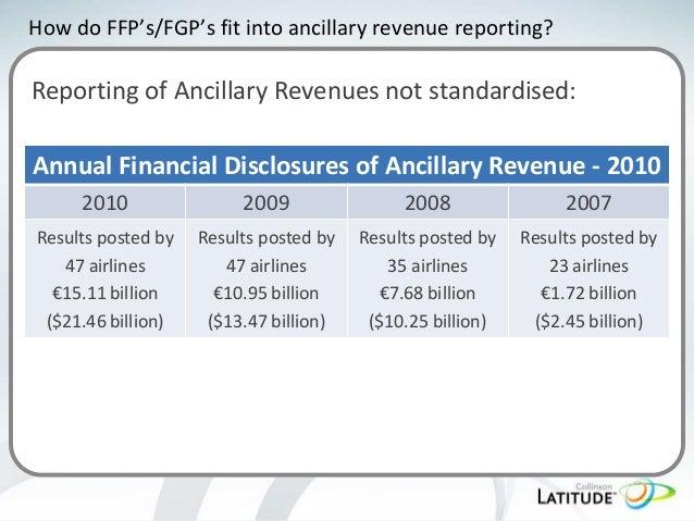 How do FFP's/FGP's fit into ancillary revenue reporting?  Reporting of Ancillary Revenues not standardised: Annual Financi...
