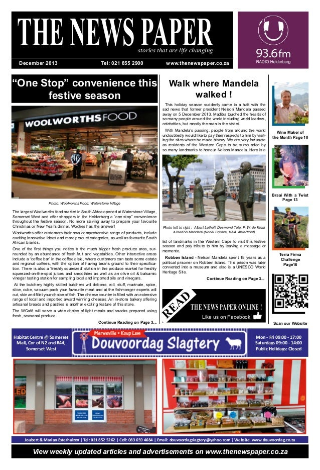 """""""One Stop"""" convenience this festive season THENEWSPAPERstories that are life changing Terra Firma Challenge Page16 READ ..."""