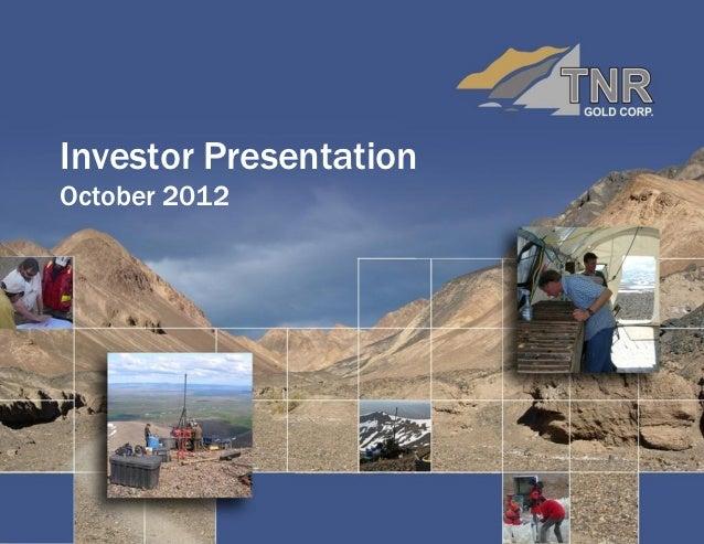 Investor PresentationOctober 2012