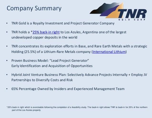 TNR Gold Investor Presentation March 2014 Slide 3