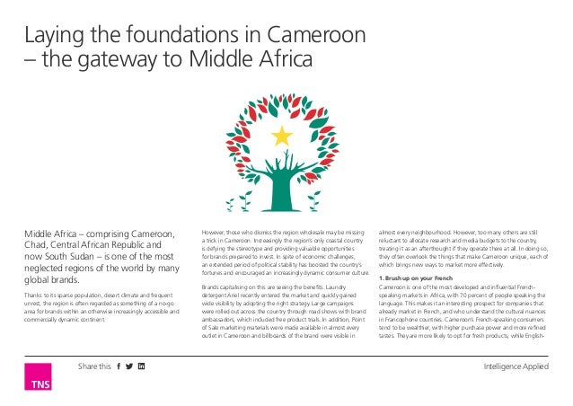Intelligence AppliedShare this Laying the foundations in Cameroon – the gateway to Middle Africa Middle Africa – comprisin...