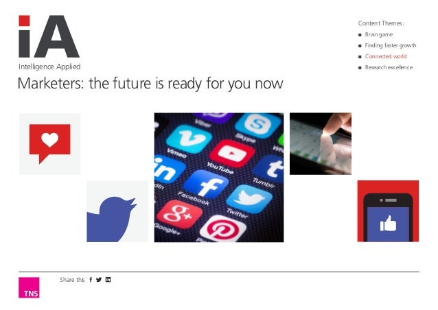 Share this  Intelligence Applied  Marketers: the future is ready for you now  Content Themes:  ■■  Brain game  ■■  Finding...
