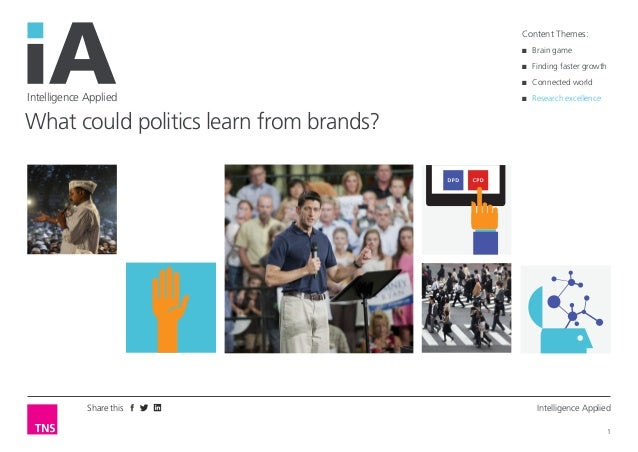 Share this Intelligence Applied  1  Intelligence Applied  What could politics learn from brands?  Content Themes:  ■■ Brai...