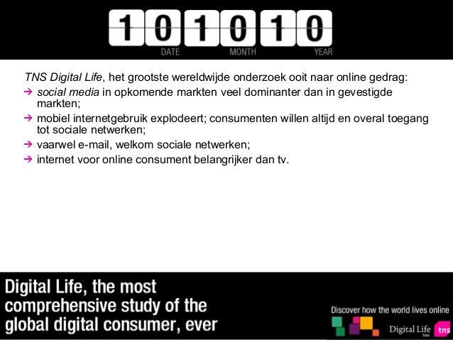 TNS Digital Life, het grootste wereldwijde onderzoek ooit naar online gedrag:  social media in opkomende markten veel domi...