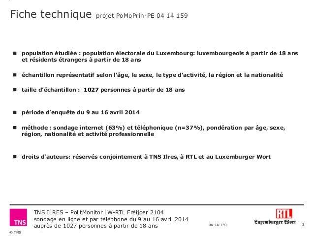 Polit Monitor RTL/Luxemburger Wort - Frühjahr 2014 Slide 2