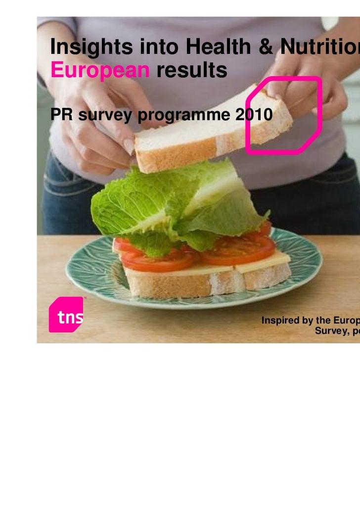 Insights into Health & NutritionEuropean resultsPR survey programme 2010                                                  ...