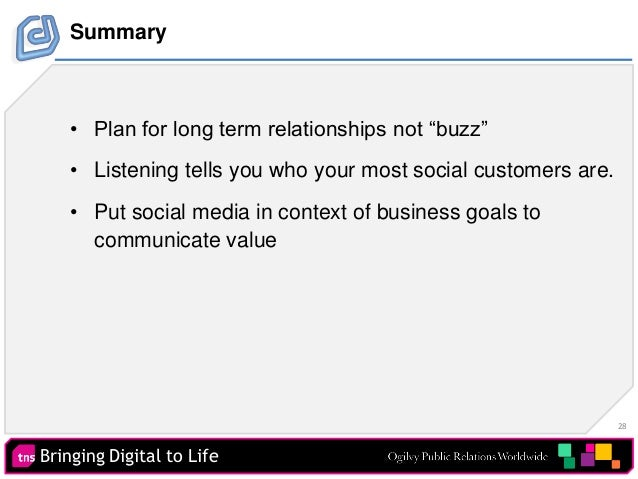 """28 Bringing Digital to Life Summary • Plan for long term relationships not """"buzz"""" • Listening tells you who your most soci..."""