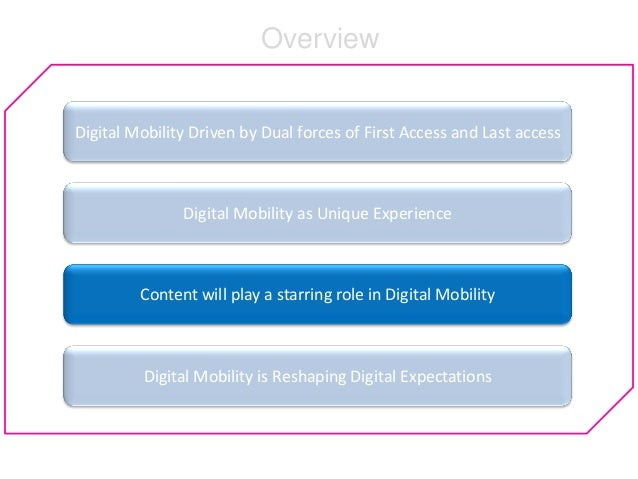 Digital Mobility Driven by Dual forces of First Access and Last access Digital Mobility as Unique Experience Content will ...
