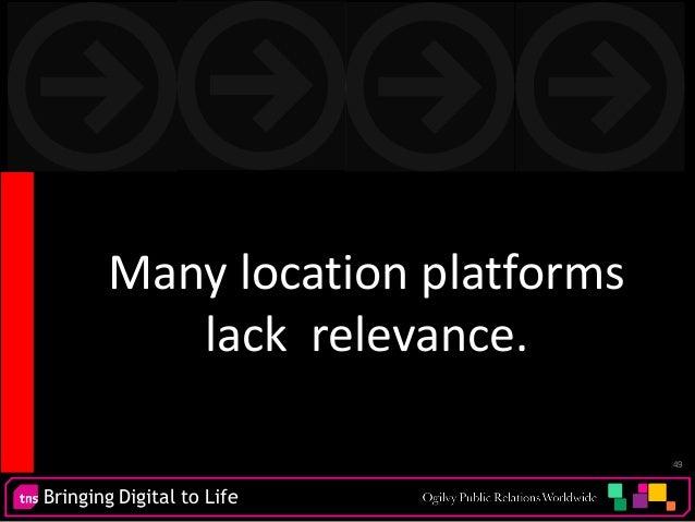 Bringing Digital to Life 49 Many location platforms lack relevance.