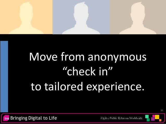 """Bringing Digital to Life 50 Move from anonymous """"check in"""" to tailored experience."""