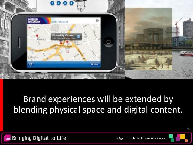 Bringing Digital to Life 56 Brand experiences will be extended by blending physical space and digital content.